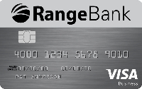 Photo of Range Bank business credit card VISA.