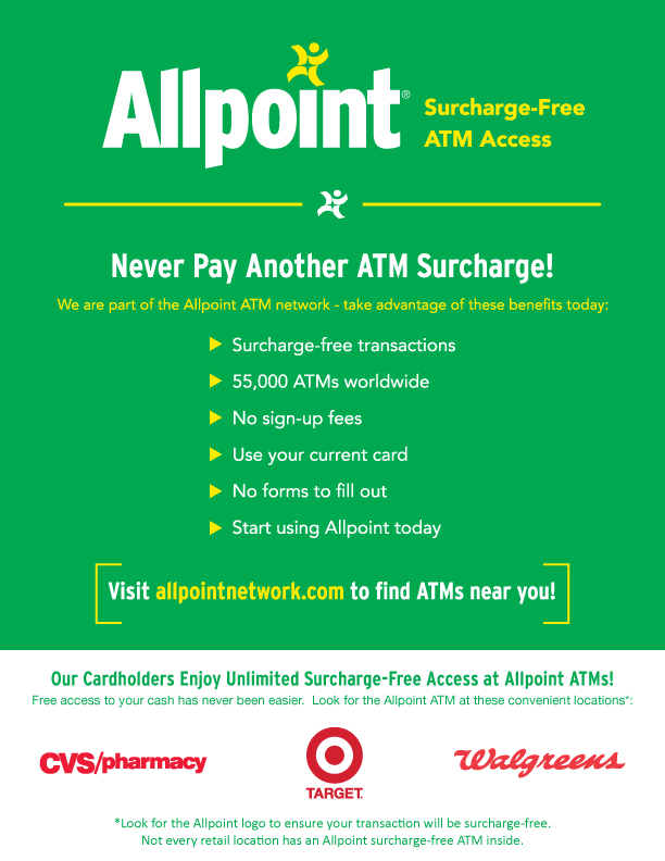 Allpoint Surcharge-Free ATM Access Display